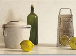 Willem de Bont - Two lemons, Rasp, Bottle and Pot