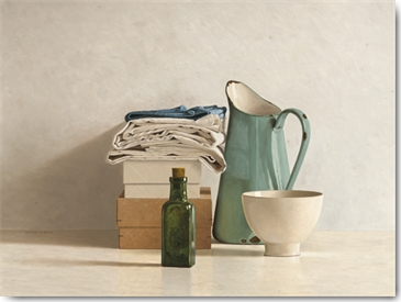 Willem de Bont - Two Boxes, Cloths, Bottle, Jug and Bowl
