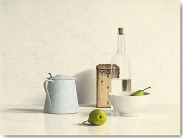 Willem de Bont - Two Pears, Bottle, Can and Jug