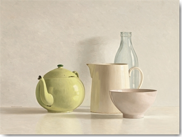 Willem de Bont - Yellow Teapot, Bottle, Bowl and Jug