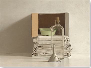 Willem de Bont - Cloths, Box, Bottle, Bowl and Funnel
